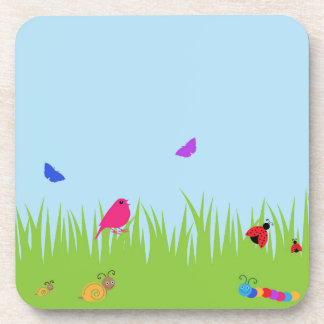 Cute bugs and bird in grass with blue sky beverage coaster