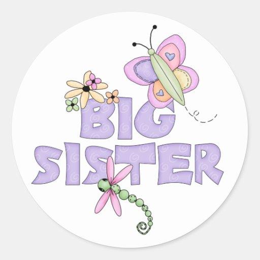 Cute Bugs Big Sister Round Sticker