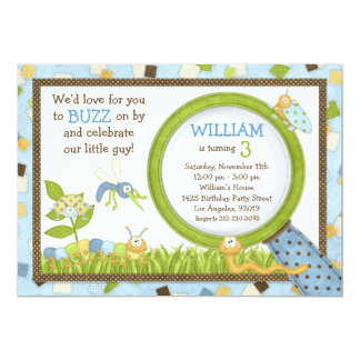 Cute Bugs Birthday Party Invitation