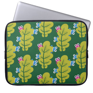 Cute Bugs Eat Green Leaf Pattern Laptop Sleeve