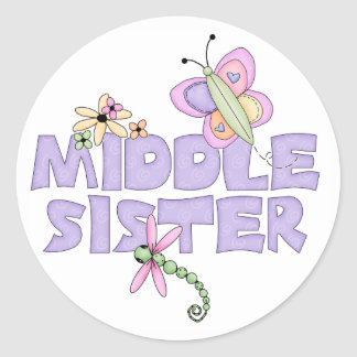 Cute Bugs Middle Sister Classic Round Sticker