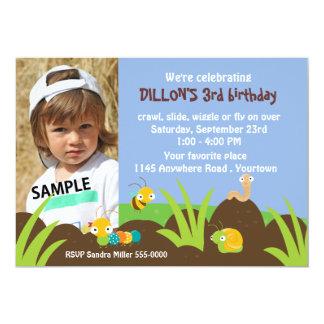 Cute Bugs Photo Birthday 5x7 Paper Invitation Card