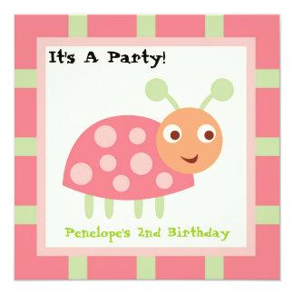Cute Bugs Pink Ladybug Card