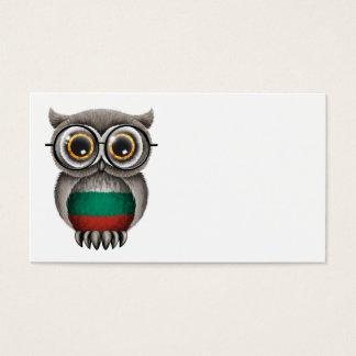 Cute Bulgarian Flag Owl Wearing Glasses Business Card