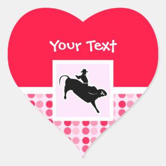 Cute Bull Rider Heart Stickers