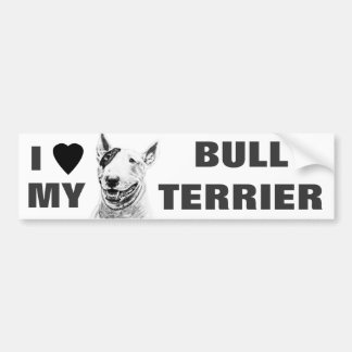 Cute Bull Terrier dog art Car Bumper Sticker