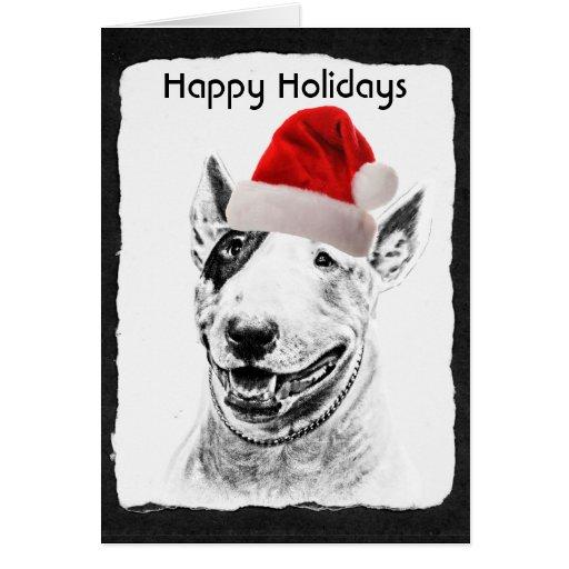 Cute Bull Terrier dog art Card