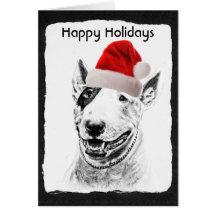 Cute Bull Terrier dog art Greeting Cards
