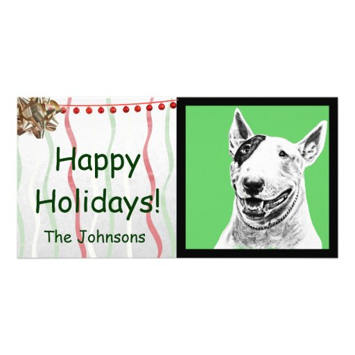 Cute Bull Terrier dog art Personalized Photo Card