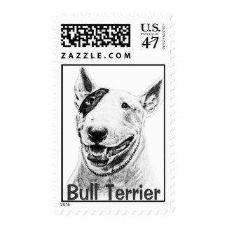 Cute Bull Terrier dog art Postage
