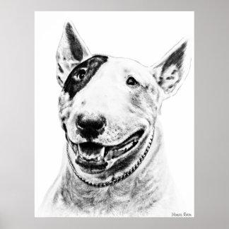 Cute Bull Terrier dog art Poster