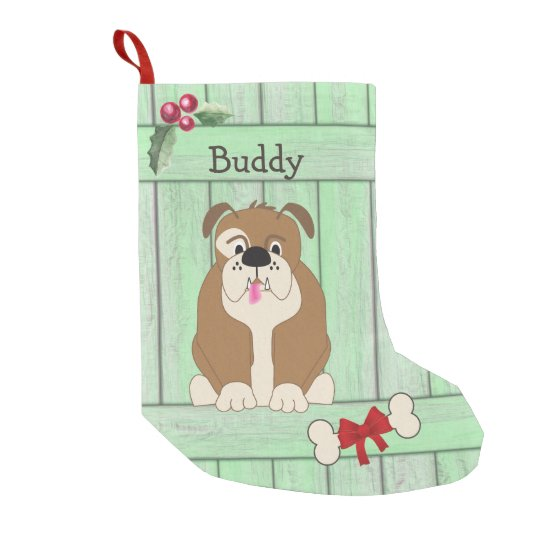 Cute Bulldog Dog Green Wooden Fence Monogram Small Christmas Stocking