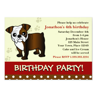 Cute Bulldog Puppy Birthday Party Invitation
