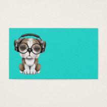 Cute Bulldog Puppy Dj Wearing Headphones
