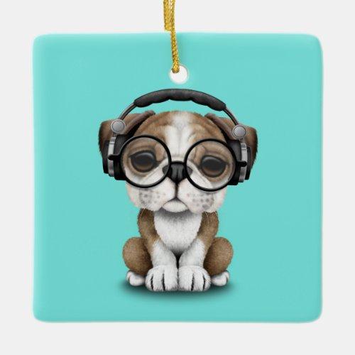 Cute Bulldog Puppy Dj Wearing Headphones Ceramic Ornament