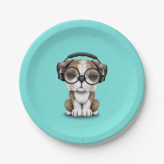 Cute Bulldog Puppy Dj Wearing Headphones Paper Plate