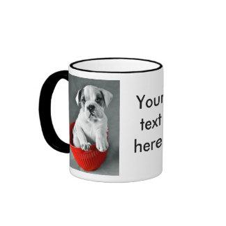 Cute Bulldog Puppy Ringer Coffee Mug