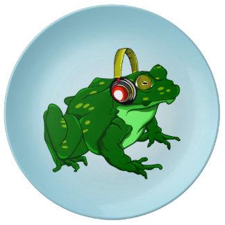 Cute Bullfrog Wearing Headphones Dinner Plate