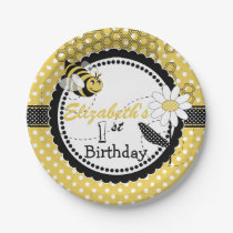 Cute Bumble Bee 1st Birthday Party Paper Plate