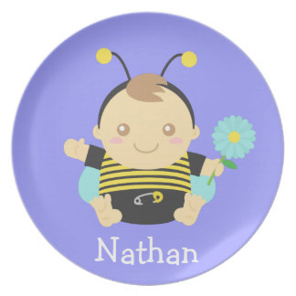 Cute Bumble Bee Baby For Toddlers Dinner Plates