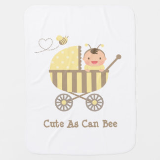 Cute Bumble Bee Baby in Stroller Pun Stroller Blanket