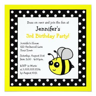 Cute Bumble Bee Birthday Black & Yellow Polka Dots 5.25x5.25 Square Paper Invitation Card