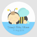 Cute Bumble Bee Boy Baby Shower Classic Round Sticker