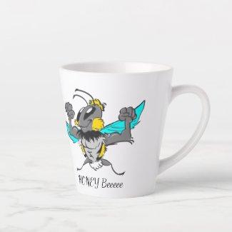 Cute Bumble Bee Cartoon Cust.Text White Latte Mug