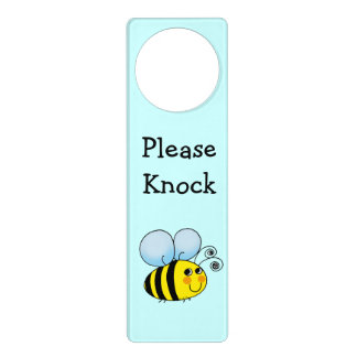 cute bumble bee cartoon - please knock door hanger
