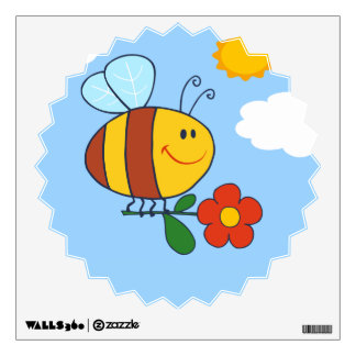 Cute Bumble Bee Design Wall Decal