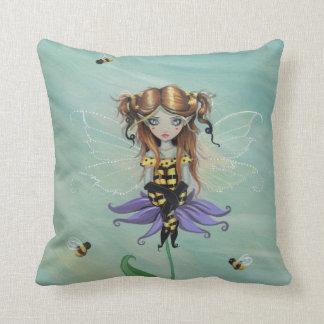Cute Bumble Bee Fairy Throw Pillow