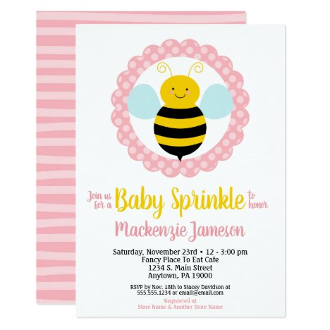 Cute Bumble Bee Girls Baby Sprinkle Invitation