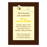 Cute Bumble Bee Honeycomb Birthday Invitations