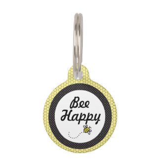 Cute Bumble Bee Honeycomb Pattern Dog Tag
