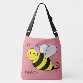 Cute Bumble Bee in Pink Personalized Tote Bag