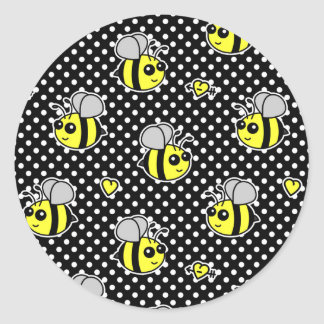Cute Bumble Bee Pattern Black Classic Round Sticker