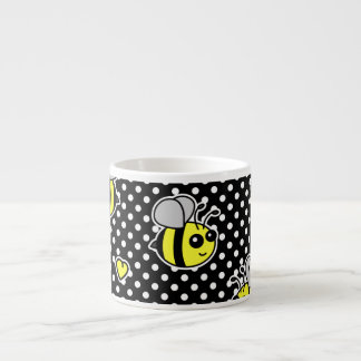 Cute Bumble Bee Pattern Black Espresso Cup