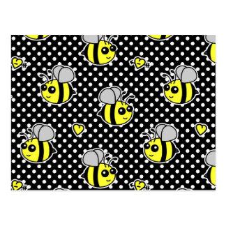 Cute Bumble Bee Pattern Black Postcard