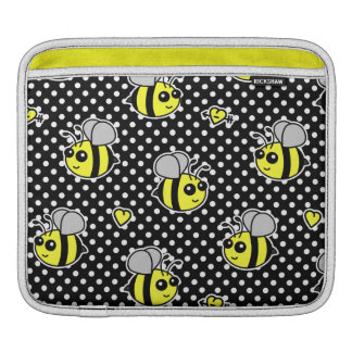 Cute Bumble Bee Pattern Black Sleeves For iPads