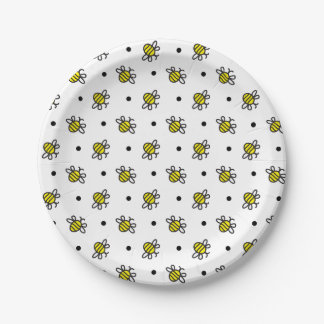 Cute Bumble Bee Pattern Paper Plates