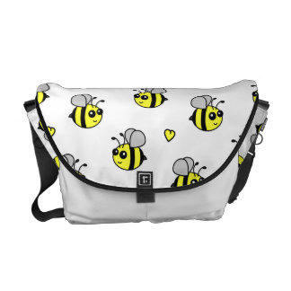 Cute Bumble Bee Pattern White Courier Bag