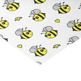 """Cute Bumble Bee Pattern White 10"""" X 15"""" Tissue Paper"""
