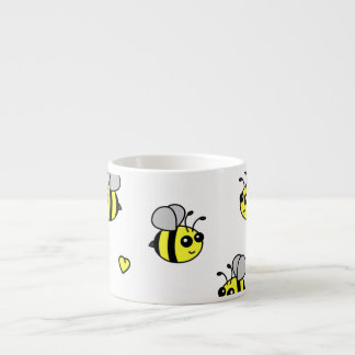 Cute Bumble Bee Pattern White Espresso Cup