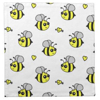Cute Bumble Bee Pattern White Cloth Napkin