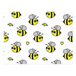 Cute Bumble Bee Pattern White Postcard