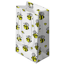 Cute Bumble Bee Pattern White Small Gift Bag