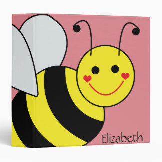 Cute Bumble Bee Personalized 3 Ring Binder