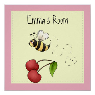 Cute Bumble Bee Personalized Poster