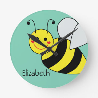 Cute Bumble Bee Personalized Round Clock