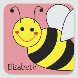 Cute Bumble Bee Personalized Square Sticker
